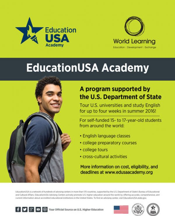 EducationUSA Academy – Now Accepting Student Applications for 2016